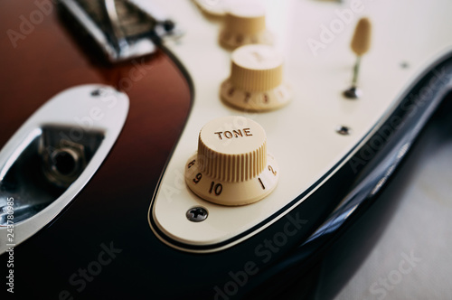 Close-up of electric guitar Canvas Print