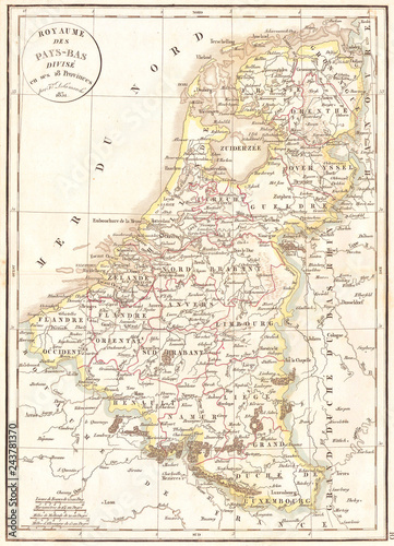 Canvas Print 1832, Delamarche Map of Holland and Belgium