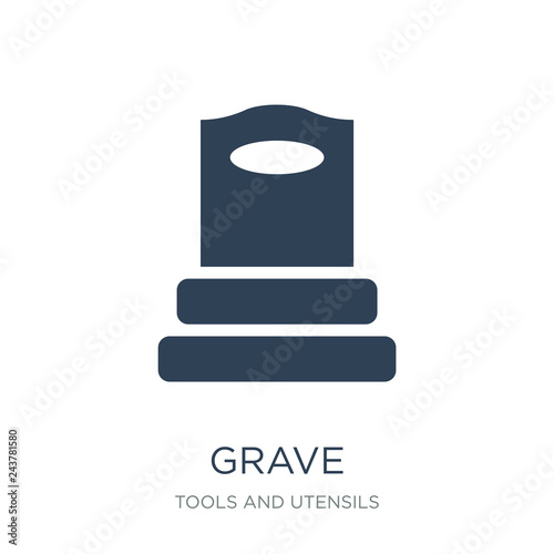 Fotografia, Obraz grave icon vector on white background, grave trendy filled icons from Tools and