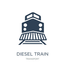 Diesel Train Icon Vector On Wh...