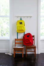 Child's Backpacks In Room With...