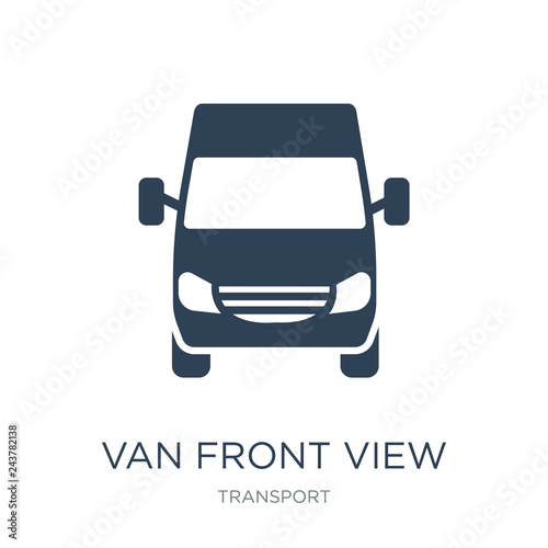 Foto van front view icon vector on white background, van front view trendy filled ico