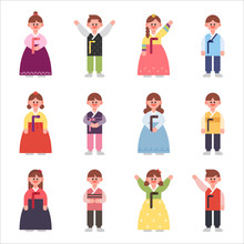 Character Set For Men And Women In Korean Traditional Costumes. Flat Design Vector Graphic Style Concept Illustration.