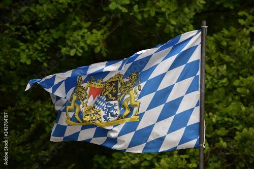 blue and white bavarian flag   in the park Fototapeta