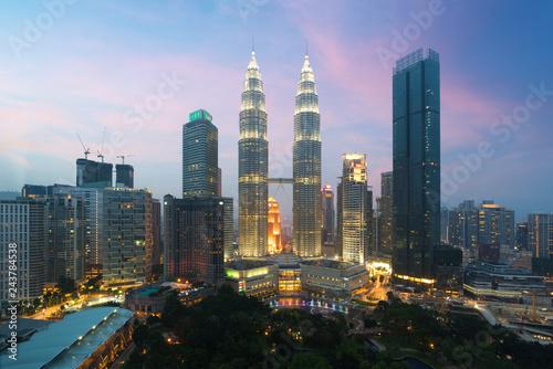Photo Stands Kuala Lumpur Kuala lumpur cityscape. Panoramic view of Kuala Lumpur city skyline during sunrise viewing skyscrapers building and Petronas twin tower in Malaysia.