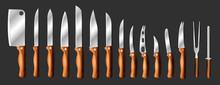Knives Vector Butcher Meat Knife Set Chef Cutting With Kitchen Drawknife Or Cleaver And Sharp Knifepoint Illustration Isolated On Black Background