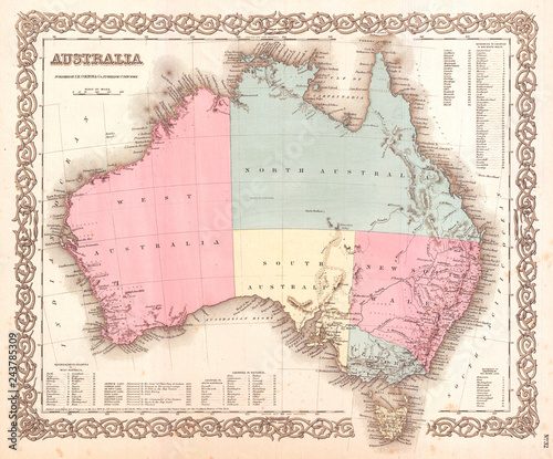 Map Of Australia To Buy.1855 Colton Map Of Australia Buy This Stock Illustration And