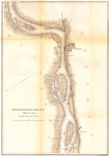 1865, U.S.C.S. Map Of The Mississippi River Around Chester Illinois