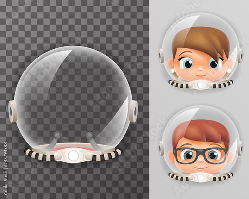 Stampa su Tela Retro cosmonaut helmet realistic 3d astronaut spaceman boy girl tantamareska tra