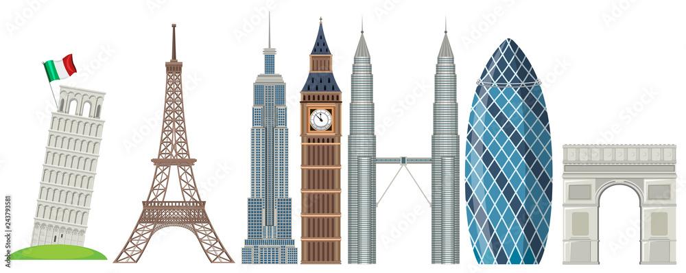 Fototapeta Set of world famous landmark