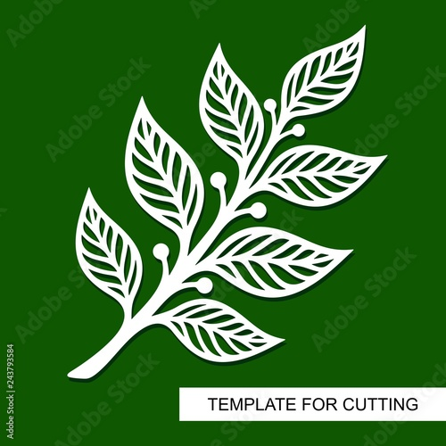 Silhouette of a branch with leaves. Theme of plants. Template for laser cut, wood carving, paper cutting and printing. Vector illustration.