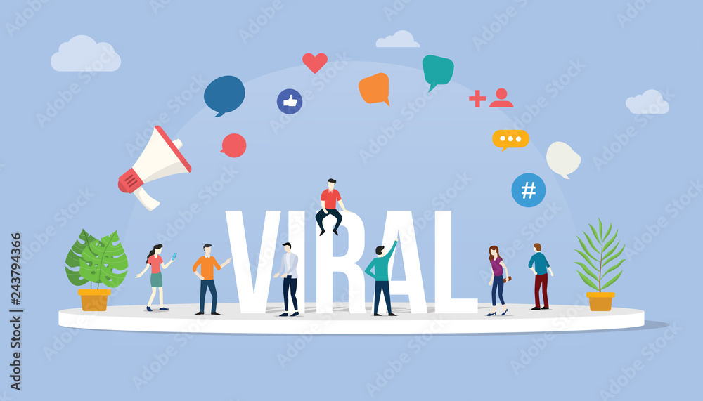 Fototapeta viral social media information content with team people standing around it with big text and various icon - vector