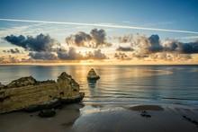 Coloured Cliffs And Sunrise At The Beach, Praia Da Dona Ana, Lagos, Algarve, Portugal, Europe