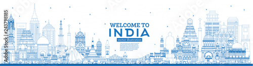 Fotografia Outline Welcome to India City Skyline with Blue Buildings.
