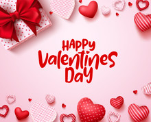 Valentines Day Vector Background Template. Happy Valentines Day Text In White Space With Red Hearts And Gift Elements. Vector Illustration.