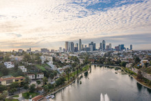 Panoramic View Of Silver Lake And Downtown Los Angeles On A Beautiful Morning