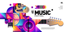 Vector Colorful Music Festival For Event Banner And Poster. Colorful Geometric Abstract Background Template In Eps10.