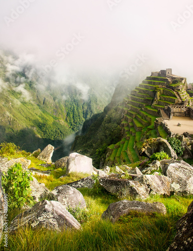 Foto op Canvas Rudnes Scenic view of the Urubamba valley and the surrounding mountains from ruins of Machu Picchu in Peru