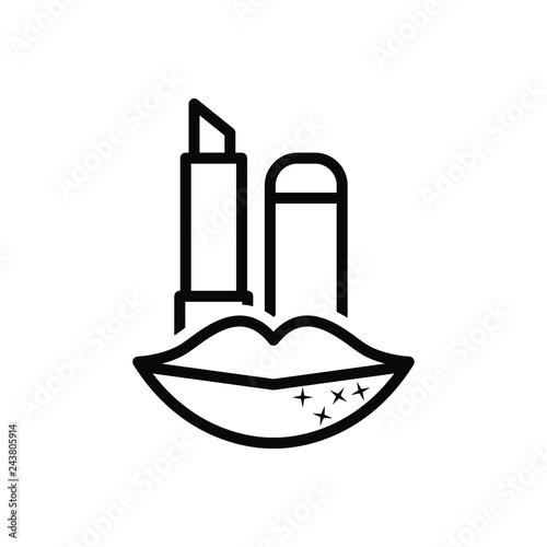 Photo Black line icon for lip care