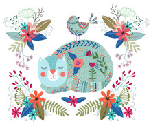 Art Vector Colorful Illustration With Cute Cat, Bird And Flowers On A White Background. Artwork For Decoration Your Interior And For Use In Your Design