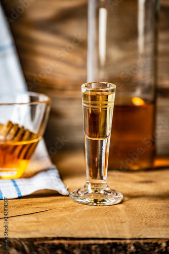 homemade mead (honey wine) on an old table close up Wallpaper Mural