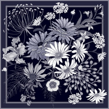 Flower Pattern. Decoration With Wildflowers In Frame.