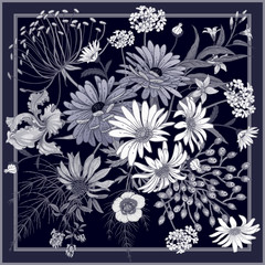 Panel Szklany Do sypialni Flower pattern. Decoration with wildflowers in frame.