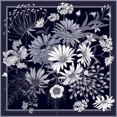 Fototapeta Do sypialni Flower pattern. Decoration with wildflowers in frame.