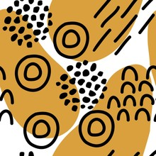 Abstract Memphis Style Insprired Hand Drawn Vector Seamless Pattern With Mustard Color, Black And White.