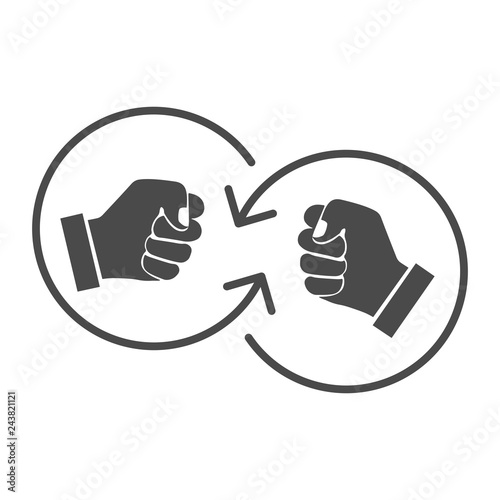 Fotografía  Mutual threats. Conflict. Vector icon on white background.