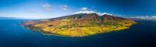 Aerial Panorama Of The West Coast Of Maui Near The Town Of Lahaina, Hawaii, USA