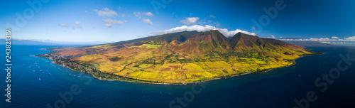 Obraz na plátně Aerial panorama of the west coast of Maui near the town of Lahaina, Hawaii, USA