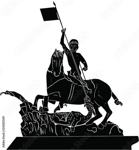 Fotografia horseman black sculpture isolated on white