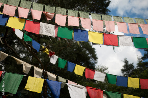 Buddhist prayer flags with mantra  Five color flags - Buy