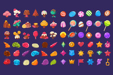Colorful Jelly Glossy Figures Of Different Shapes, Sweet Candy Land Cute Fantasy Elements, Sweets, Candies User Interface Assets For Mobile Apps Or Video Games Vector Illustration