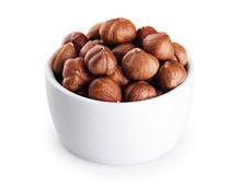 Bowl With Hazelnut Isolated On White Background.