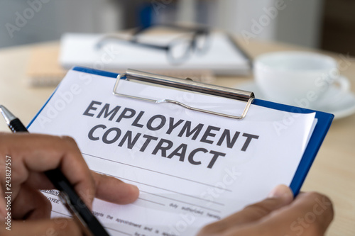 Photo  Employment contract signing job deal Recruitment concept