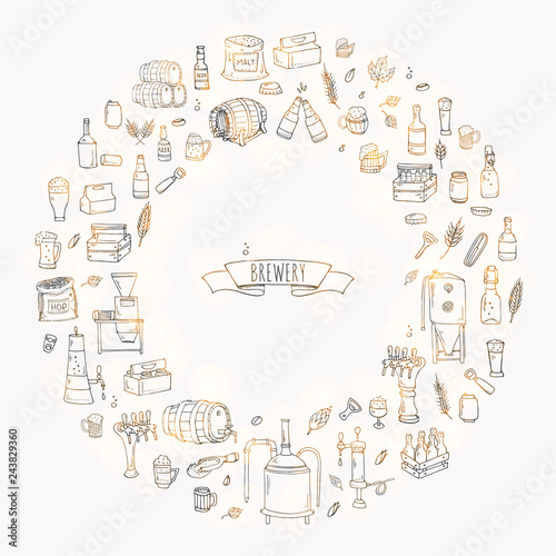 Hand drawn doodle set of Brewery icons  Vector illustration set