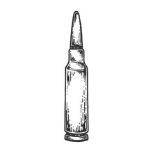 Firearms Cartridge For Automatic Rifle Machine Gun Engraving Vector Illustration. Scratch Board Style Imitation. Black And White Hand Drawn Image.