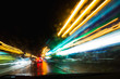 View of abstract shines on road through car window