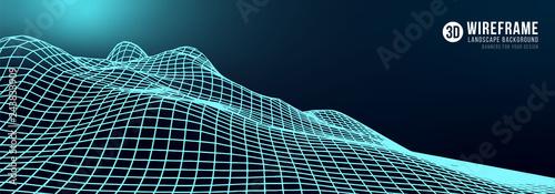 Foto auf Gartenposter Schwarz Abstract wireframe landscape background. Cyberspace neon blue grid. 3d technology vector illustration.