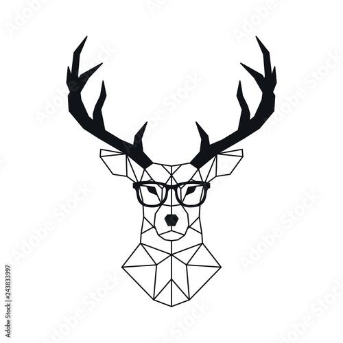 Naklejki Jeleń   streszczenie-geometryczne-glowy-jelenia-w-stylu-wielokata-geometryczne-stylizowane-jelenie