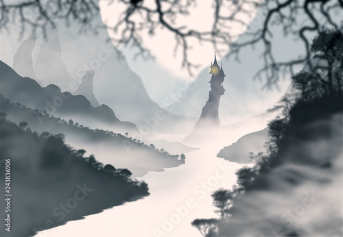Foto op Canvas Zwart castle between the mountains near a foggy river