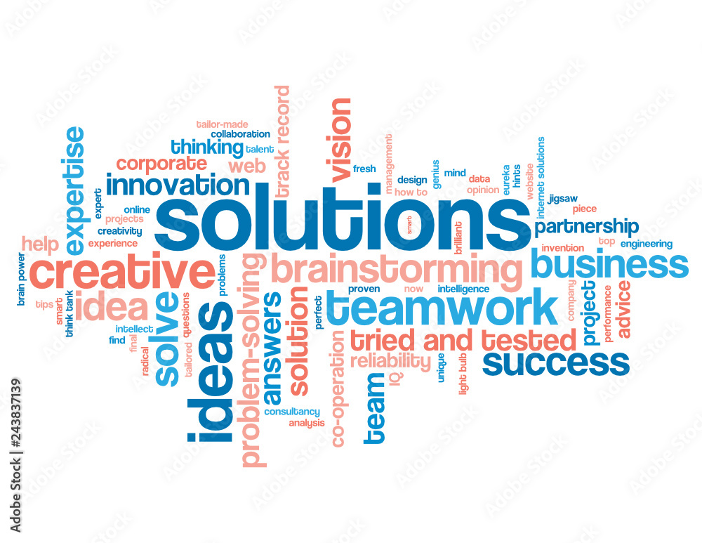 Fototapeta SOLUTIONS blue and coral word cloud