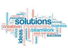 SOLUTIONS Blue And Coral Word Cloud