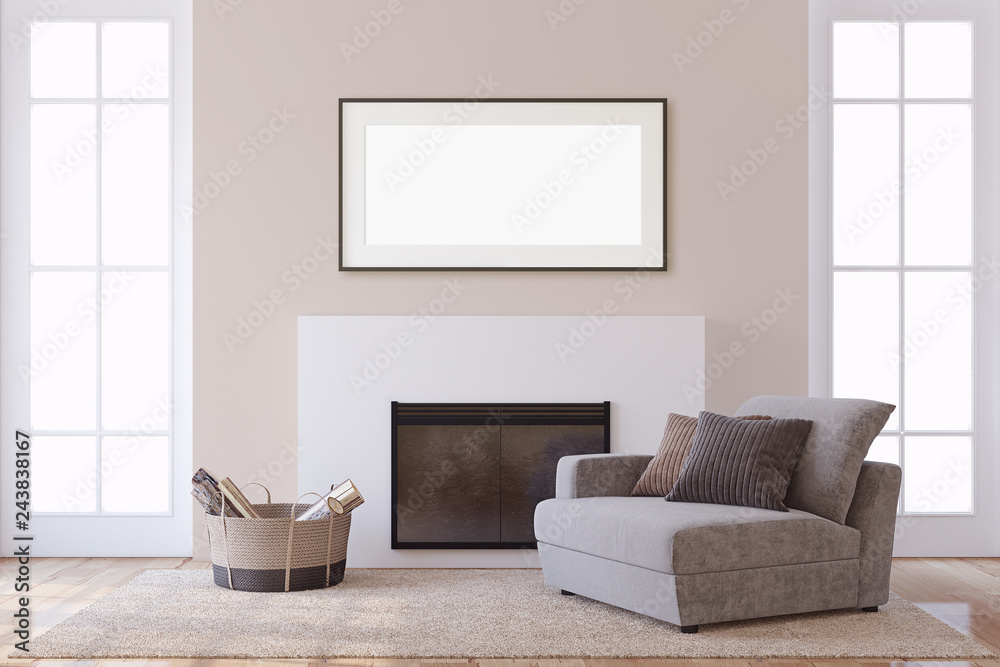 Fototapeta Interior and frame mockup. Modern fireplace. 3d rendering.