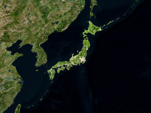 Satellite Image Of Japan With Highlighted Land Mass (Isolated Imagery Of Japan. Elements Of This Image Furnished By NASA)
