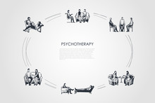 Psychotherapy - Psychotherapist Speaking With Patients Vector Concept Set