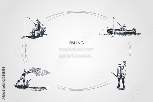 Obraz Fishing - fisherman casting net, fishing rod, catching fish, sitting on boat vector concept set - fototapety do salonu