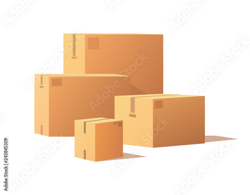 Fototapeta Containers of Different Size, Carton Storage Boxes obraz